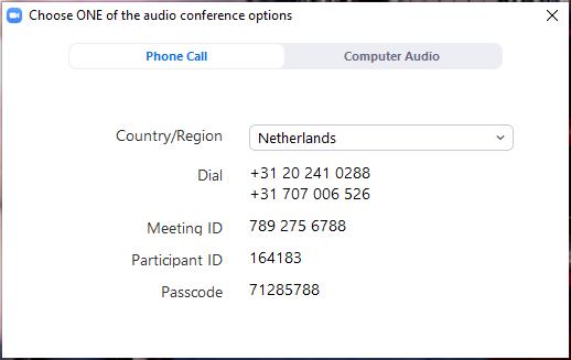 Phone call dialog
