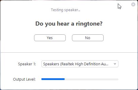 Testing speaker