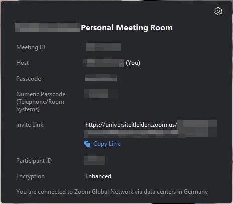 Meeting information popup