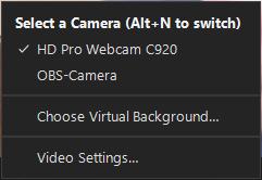 Camera menu