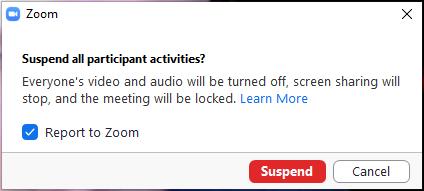 Suspend all participant activities popup