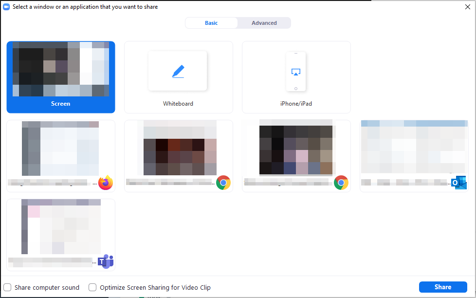 Basic screen sharing