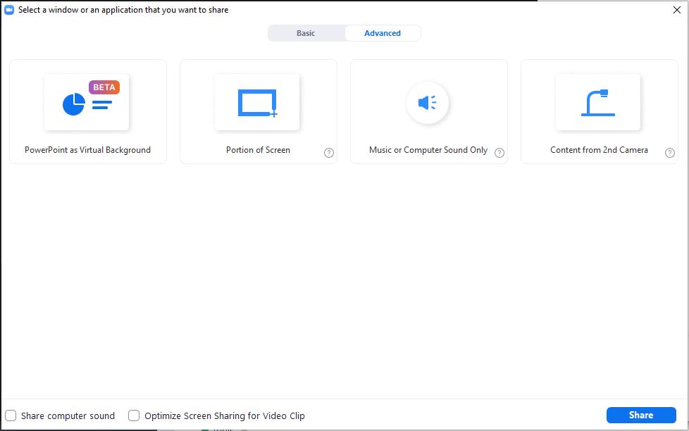 Advanced screen sharing