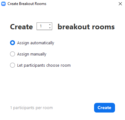 Create breakout rooms popup