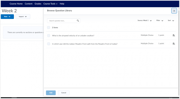 The Brightspace Quizzes interface