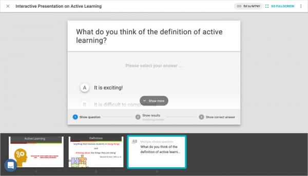 The FeedbackFruits Interactive Presentation interface