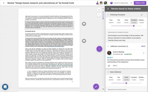 The FeedbackFruits Peer Review interface