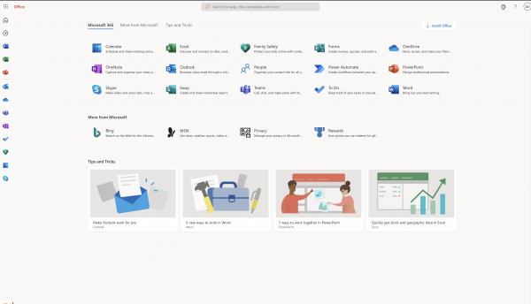 The Office 365 interface